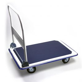 Steel platform trolley with collapsible handlebar, 300 kg load capacity
