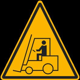 """Pittogramma antiscivolo per pavimento: """"Avviso: Zona con carrelli elevatori"""""""