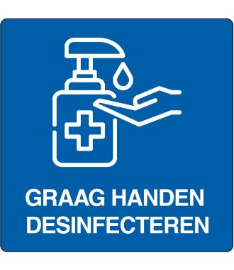 "Floor pictogram for ""disinfect hands"" Dutch"