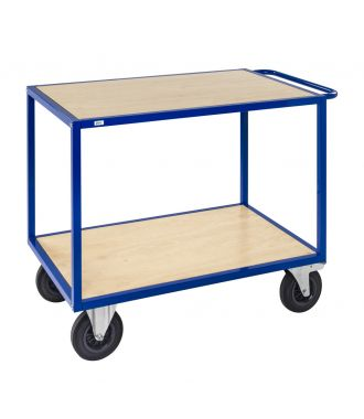 Carrello con tavolo Kongamek con ripiani in legno, capacità di carico di 500 kg