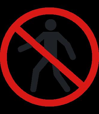 """Pittogramma antiscivolo per pavimento: """"Vietato il passaggio ai pedoni"""""""